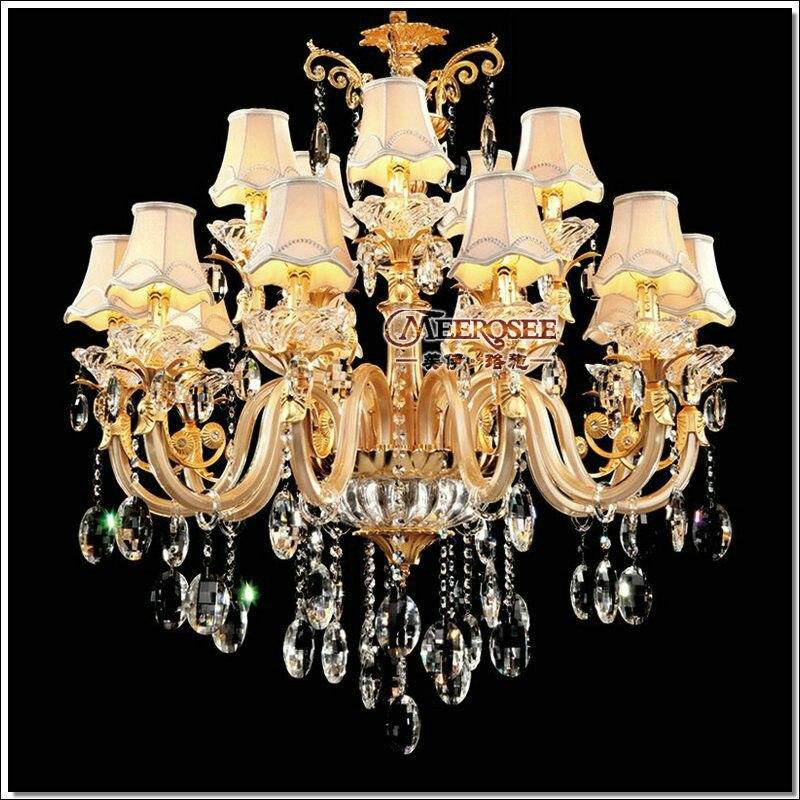 Большая Хрустальная люстра для отеля, прозрачная Хрустальная люстра, Подвесная лампа с 15 стеклянными дужками для гостиной, зала