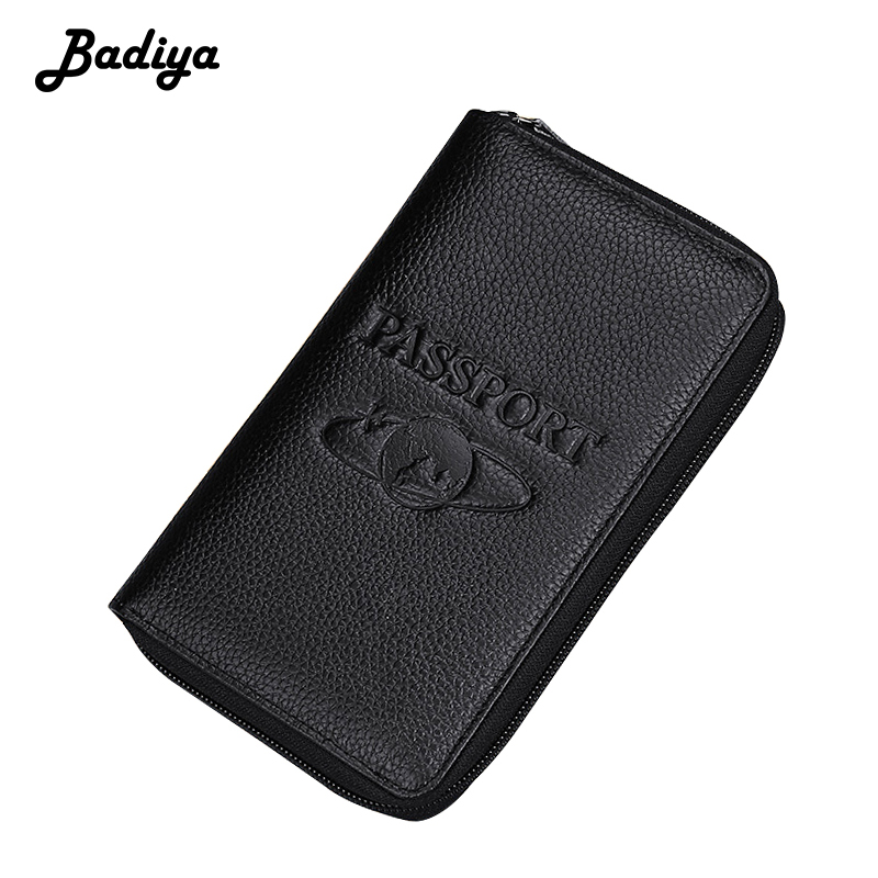 Multifunction Passport Holder Litchi Genuine Leather Passport Covers Long Ticket Document Wallet For Travel Unisex Phone Purse