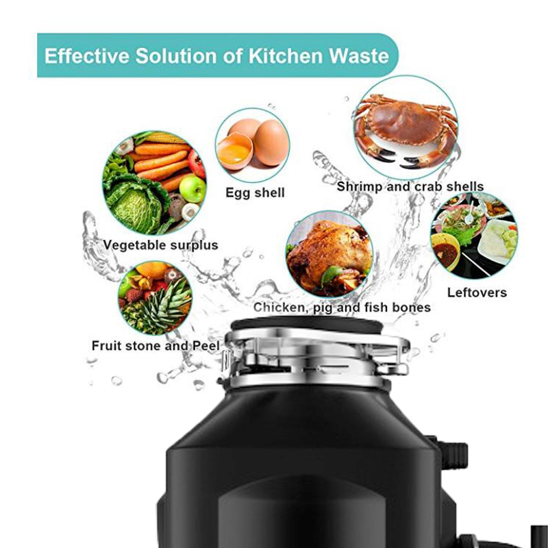 8KG food garbage processor disposal crusher food waste disposer Stainless steel Grinder material kitchen sink appliance