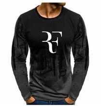 Mężczyźni tkaniny dla RF Roger Federer Gradient O neck sweter mężczyźni moda bawełna tenis bluza Casual Hip Hop Harajuku bluzy