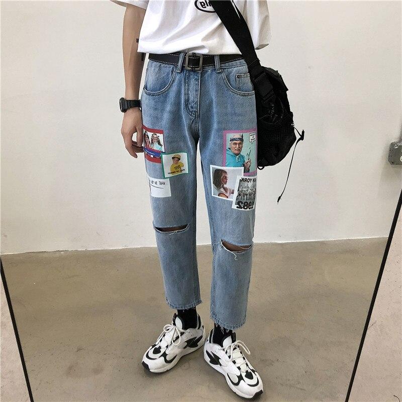 2020 Men's Fashion Hole Casual Pants Printing Stretch Slim Fit Cargo Pocket Wash Jeans Hip Hop Blue Color Biker Denim Trousers