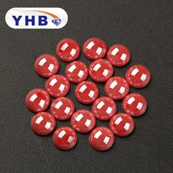 YHB Bright Red Ceramic Half Round Flatback Beads Dress Flat Back Hotfix Pearls DIY Jewelry Making Evening Bags Women image