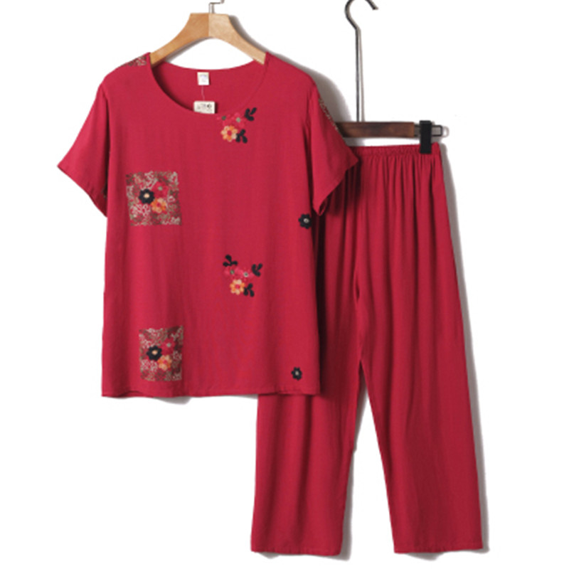 Middle aged and elderly summer cotton linen suits casual large size mother casual printed suit women