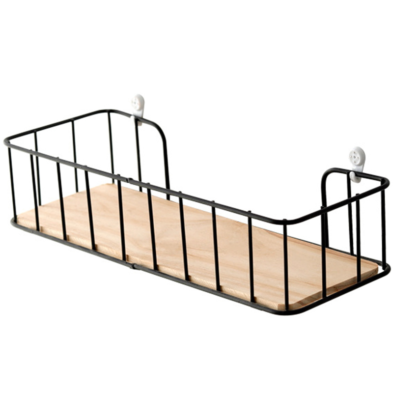 ABSS-Wooden Iron Wall Shelf Wall Mounted Storage Rack Organizer For Bedroom Kitchen Home Decor Kid Room Wall Decoration Holder