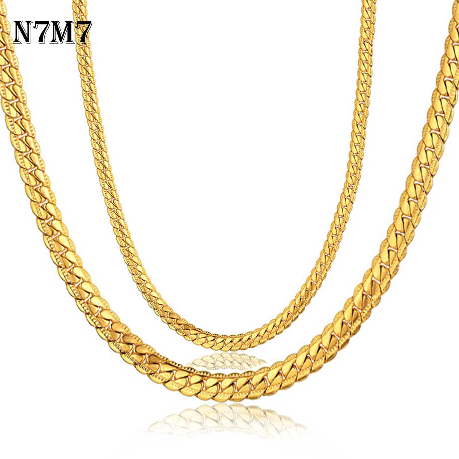 N7M7 Hot Sale Stainless Steel Gold Antique Flat Snake Chain Necklace Men Jewelry 4/7mm Choker Long Chains For Women XL570ST