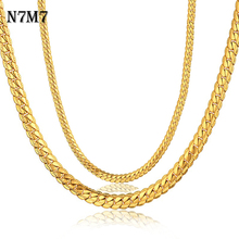 3 Size Antique 18K Gold Filled Chain Necklace Men Jewelry Wholesale, 7 MM Casual Retro Choker For Collar