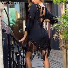 NEW Sexy Tassel Cover Ups Tunic Swimsuit 2020 Beach Dress Tropical Hollow Out Beachwear Black Backless Summer Swimwear V2650