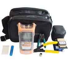FTTH Kit de herramientas de fibra óptica 9 unids/set, pelacables de fibra, todo en uno óptico medidor de potencia, localizador Visual de fallos 5km