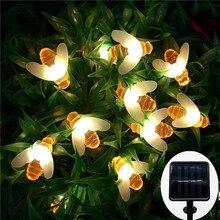 New Solar Powered Cute Honey Bee Led String Fairy Light 20leds 50leds Outdoor Garden Fence Patio Christmas Garland Lights