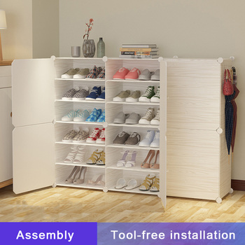 Shoe Rack High Capacity Dustproof Plastic Fabric Assembly Storage Combination Cabinet Organizer Shelf - discount item  29% OFF Home Furniture