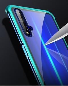 Image 3 - Fall Für Huawei Honor 20 Pro Nova 5T 5 Abdeckung Luxus Metall Bumper 9H Gehärtetem Glas Voll Schützen kimTHmall