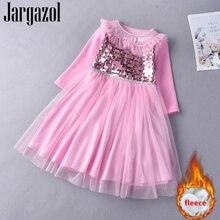 Jargazol Autumn Long Sleeve Princess Dress Sequins Fleece Girls Winter Mesh Elsa Party Birthday Teenagers Costume