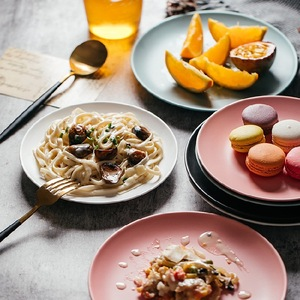 Image 2 - Shooting Photography Food Tableware Solid Color Ceramic Plates Simple & creativity Beef Plate Round Dessert Dish Salad Dishes