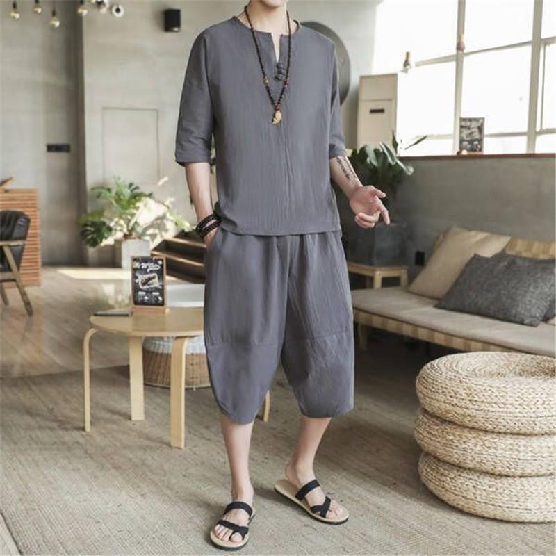 Summer Mens Cotton Linen Two Piece Set Drop Crotch Harem Pants Tracksuit Men Plus Size 5XL Ropa Deportiva Hombre Clothing Sets