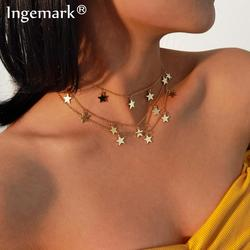 Vintage Gold Color Star Women Pendant Necklace Gifts Simple Kpop Tassel Iron Chain Necklaces Party Jewelry Collier Femme 2021