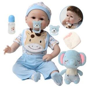 56cm Silicone bebe Reborn Baby boy Dolls 22 inch Realistic Lifelike Real Baby Doll Birthday Toys education for Children Gift