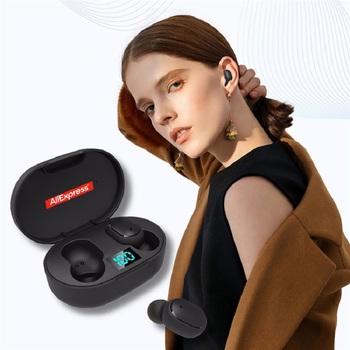 Nowy E6s TWS inteligentny wyświetlacz cyfrowy zestaw słuchawkowy Bluetooth sporty bezprzewodowe Mini zestaw słuchawkowy Stereo douszne HIFI IPX4 wodoodporna tanie i dobre opinie Wyważone CN (pochodzenie) Prawdziwie bezprzewodowe 100dB 32mW Do kafejki internetowej Do gier wideo Zwykłe słuchawki