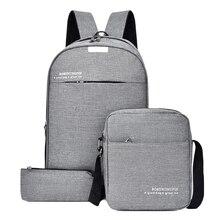 3 шт. наборы рюкзак для ноутбука деловые мужские рюкзаки дорожная сумка через плечо Повседневная Студенческая школьная сумка для подростков мальчиков и девочек
