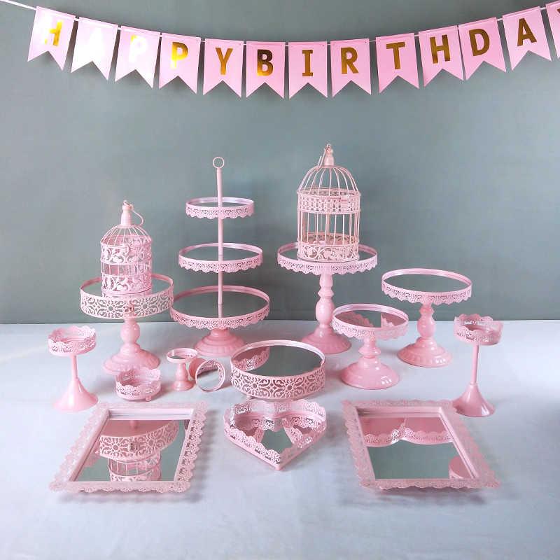 Support de support de gâteau en métal rose 6- 16 pièces/ensemble support de Cupcake servant présentoir fête d'anniversaire décoration de mariage
