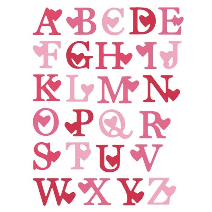 Любовь Алфавит буквы металла резки трафарет для DIY скрапбукинга карты делая альбом декоративное тиснение ремесло