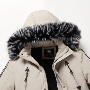 Image 5 - 2019 Mannen Winter Parka Bontkraag Lange Jassen Fleece Warm Overjassen Toevallige mannen Dikke Windjack Slim Fit Capuchon jassen