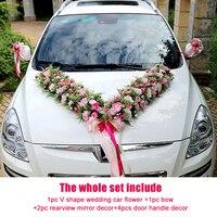Romantic Style V/U shaped Wedding Car Decoration Flowers Set Simulation Car Wedding Silk Rose Fake Flowers Party Valentine's day