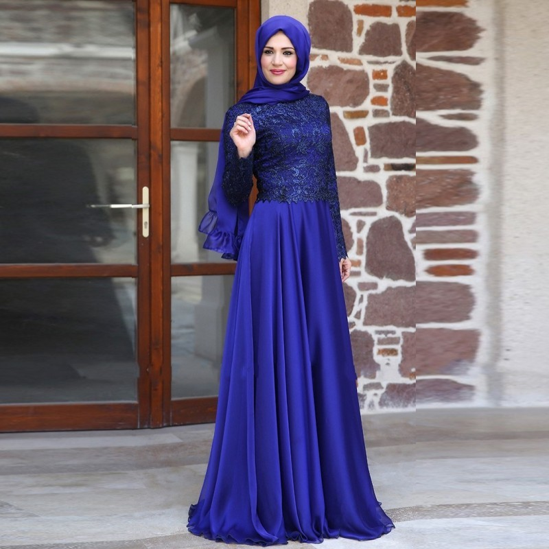 2018 Muslim Long Sleeves Royal Blue Lace Hijab Islamic Dubai Abaya Kaftan Elegant Evening Gown Mother Of The Bride Dresses
