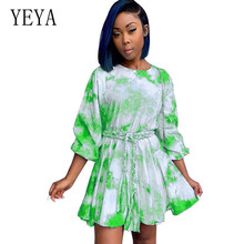 YEYA Vinage Tie-dyed Pleated Dress Long Sleeve O Neck High Waist Bodycon Sexy Mini Dress Autumn Women Fashion Elegant Clothes все цены