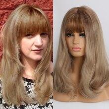 Easihair brown ombre perucas sintéticas para mulheres de comprimento médio ondulado perucas com franja natural peruca diária alta densidade resistente ao calor