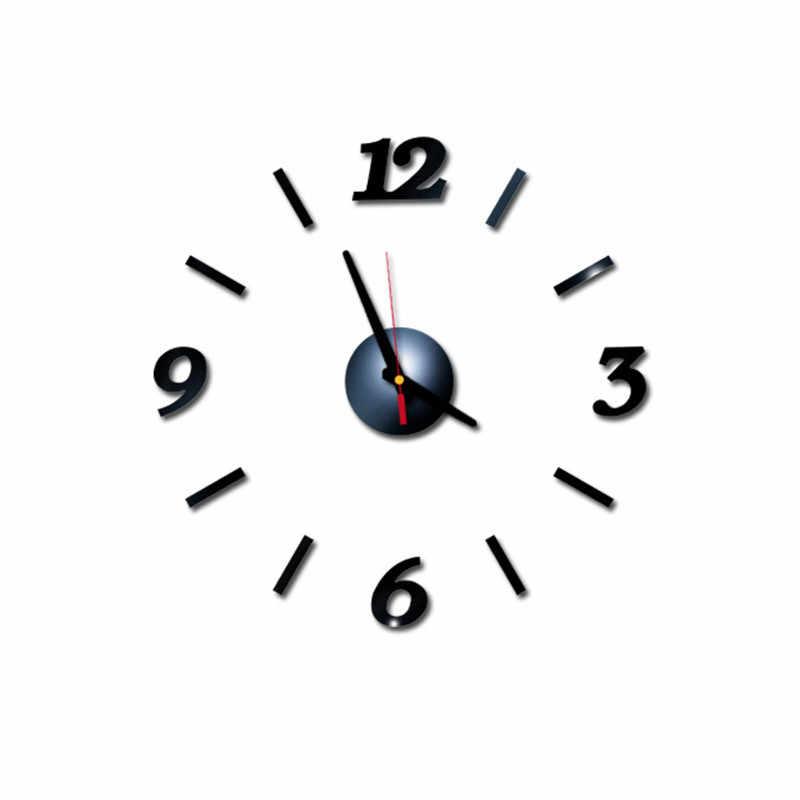Nowy bezramowe zegar ścienny DIY 3D naklejka akrylowa cyfry arabskie klej nowoczesna ściana artystyczna zestaw do wystroju wnętrz do salonu sypialnia