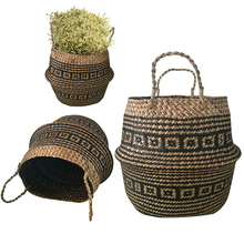 New 1pc Foldable Handmade Rattan Woven Flower Basket Seagrass Clothing Storage Basket Home Decoration Flower Basket