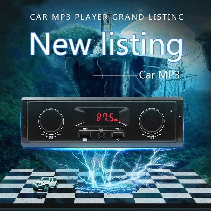 12V LED Display 1 Din Car Radio MP3 Player Vehicle Stereo Audio In-Dash USB Aux Input Receiver No Bluetooth Remote Control (4)