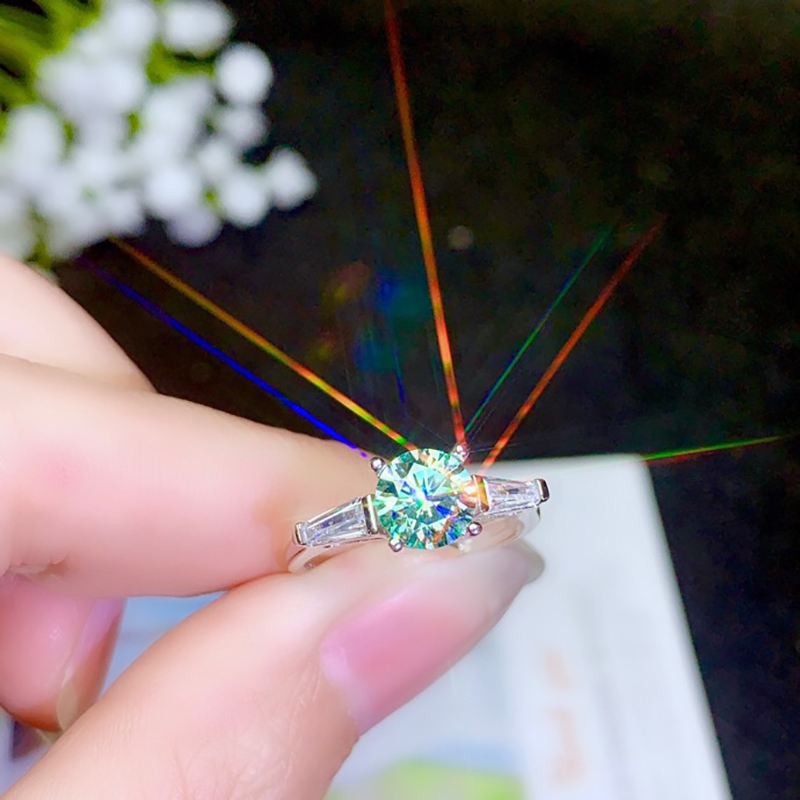 BOEYCJR 925 argent 1ct/2ct couleur bleue Moissanite VVS fiançailles bague de diamant de mariage avec certificat national pour les femmes