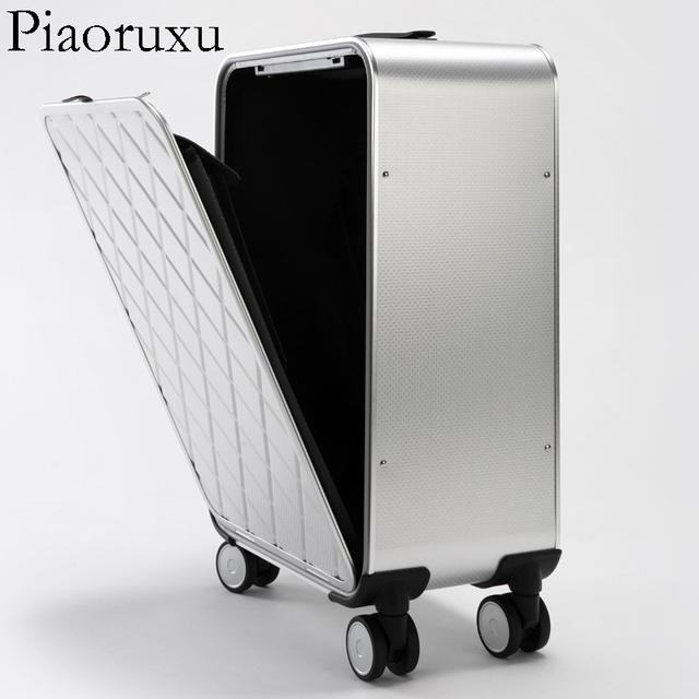 Piaoruxu 100% metal aluminum magnesium alloy  valise cabine  vintage suitcase luggage  18 inch retro spinner travel