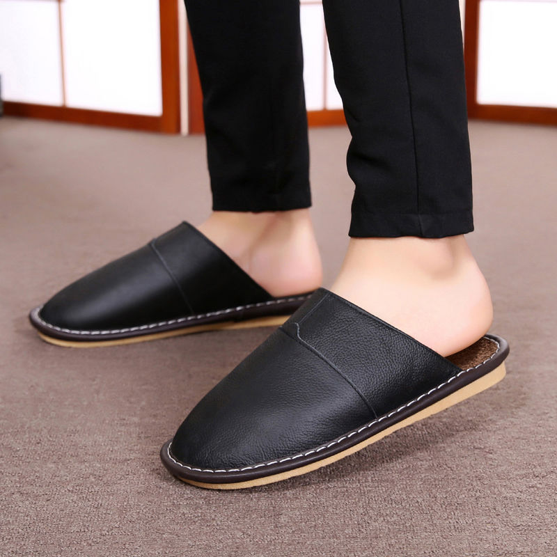 Real Cow Leather Slippers Men Indoor Home Shoe 2020 Spring New Arrival Classic Flat Short Plush Slippers Man