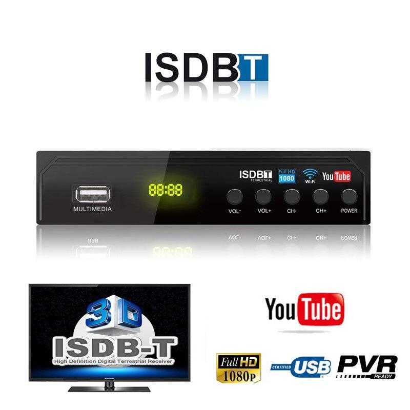 FTA América do sul ISDB-T Sintonizador de TV Digital Terrestre Receptor de Sinal de Antena H.264 HD 1080P Set Top Box VHF UHF decodificador de antena