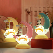 LED Moon Eyes Table Lamp Cartoon Animal Bear Bunny Panda Plug Night Light Home Bedroom Feeding Bedside Decoration Christmas Gift