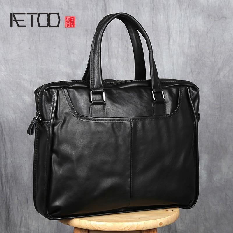 AETOO Handbag Men's Leather Business Casual Briefcase Head Layer Cowhide Shoulder Messenger Bag Horizontal Men's Bag Computer Ba