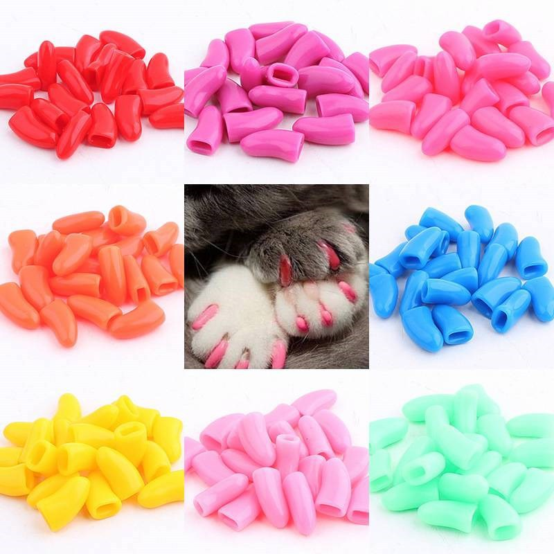 20 Pcs Dog Cat Nail Caps Soft Silicone Anti-scratch Paw Nail Cover Puppy Claw Grooming Manicure Dog Cat Nail Grooming Supplies