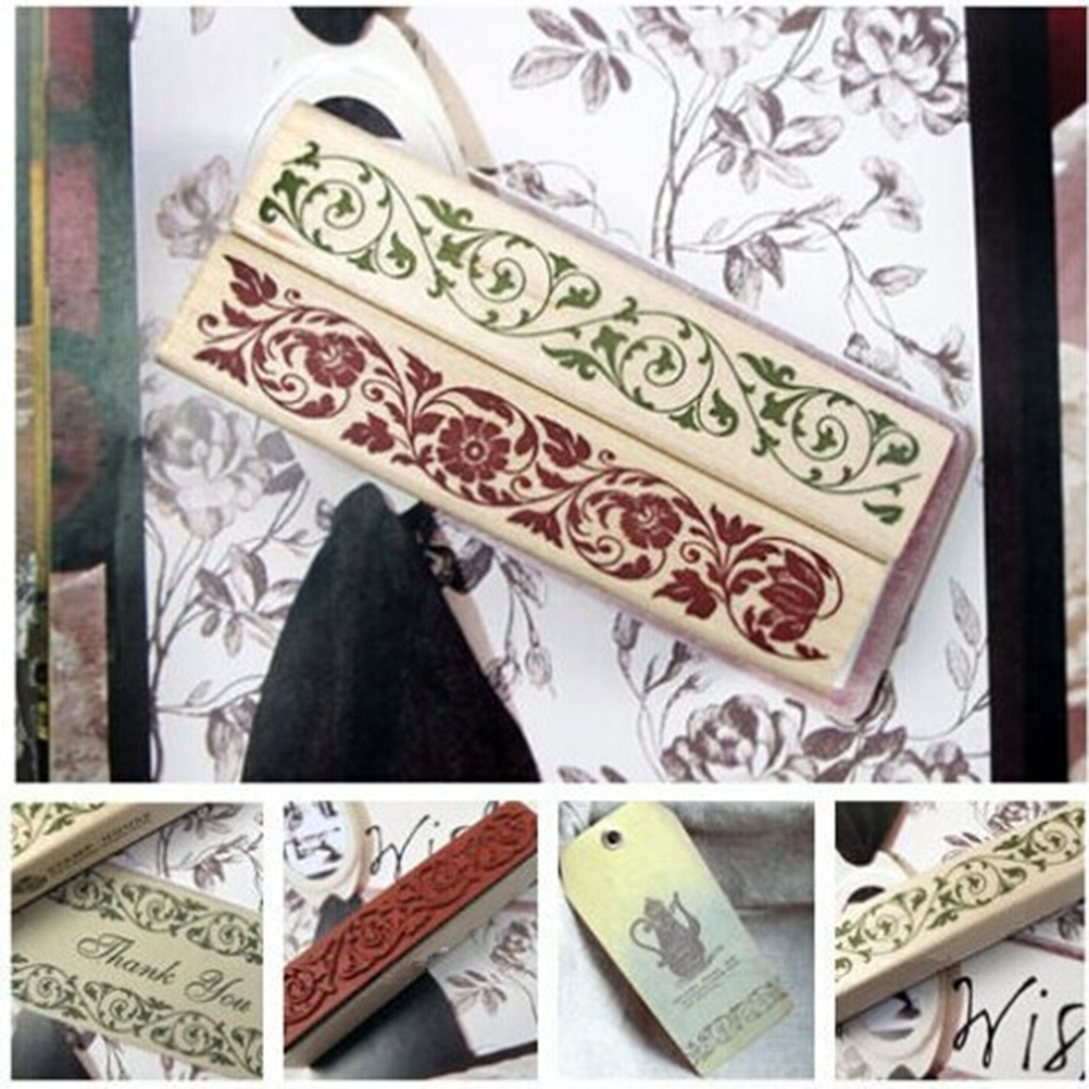 Wish Stamp Wooden Rubber Stamp Floral Pattern Luck Stamps Flower Lace Stamp Floral Seal Scrapbook Handwrite Wedding Craft