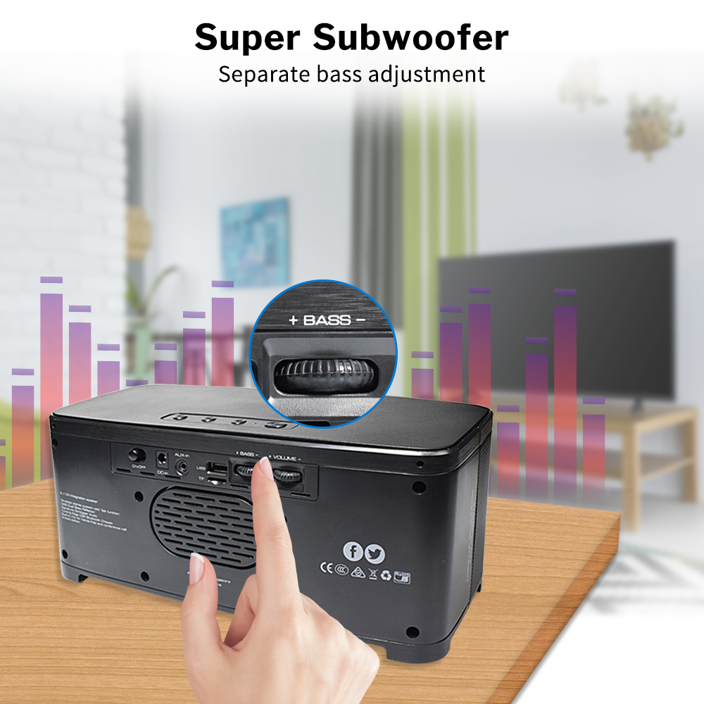 Image 3 - Bass Powerful Bluetooth Speaker Home Wireless Stereo Sound System 2.1 Channel Column with Subwoofer for Computer Laptop PC-in Subwoofer from Consumer Electronics