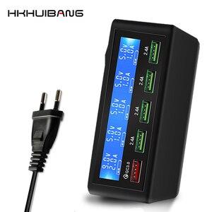 Image 1 - 50 w carga rápida 3.0 5 portas usb carregador adaptador do telefone móvel carregador rápido para iphone samsung xiaomi tablet estação carregador plug