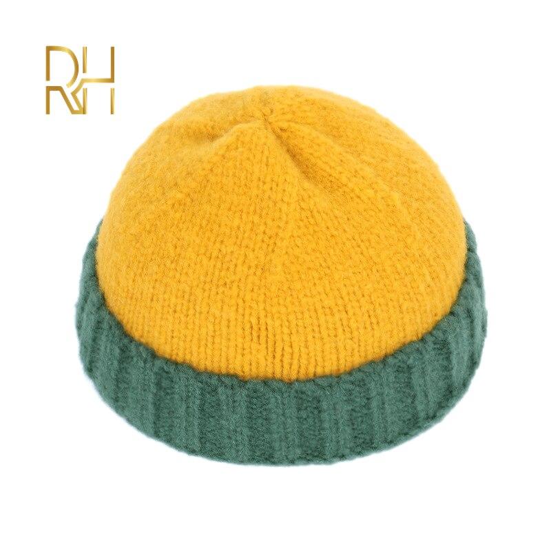 Kış örgü erkek şapka kafatası erkekler bere şapka kış kısa Brimless Baggy kavun kap Docker balıkçı örme şapka kadın RH