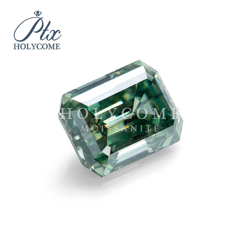 5.5x4.5mm 2020 hot sale Holycome moissanite supplier factory direct supply Gemstone Green Emerald Moissanite Diamond for ring