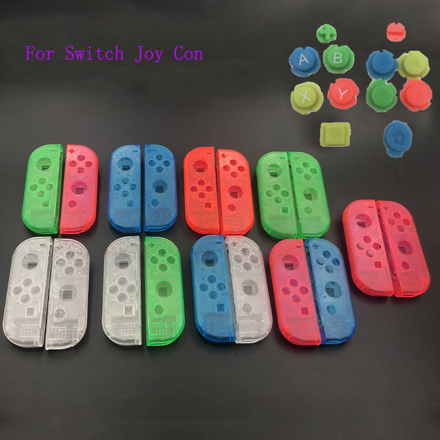 10sets Plastic Joy Con Housing Case Cover For Nintendo Switch Clear Custom Controller Shell Colorful Buttons