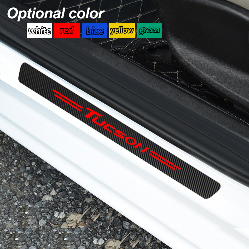 4Pcs Carbon Fiber Car Door Sill Scuff Anti Scratch Sticker For Hyundai Tucson 2014 2016 2018 2019 Accessories