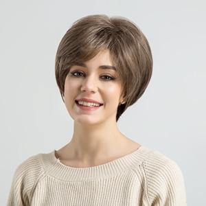 Image 5 - ALAN EATON krótki warstwowy czarny brązowy blond popiół szary peruki dla kobiet proste srebrne peruki syntetyczne żaroodporne fryzura Pixie Lady