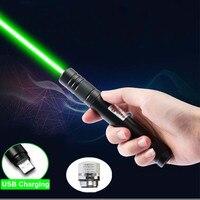 Akumulator USB zielony wskaźnik laserowy wbudowany akumulator zielony celownik laserowy 10000m 5mw regulacja ostrości Lazer pióro laserowe wskaźnik w Lasery od Sport i rozrywka na