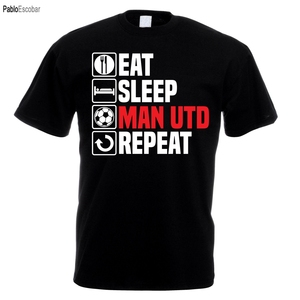 Men Designer Clothes O-Neck Style Tops Tees Eat Sleep Man Utd T Shirt Footbalerl Manchester Fathers Day Birthday United Gift