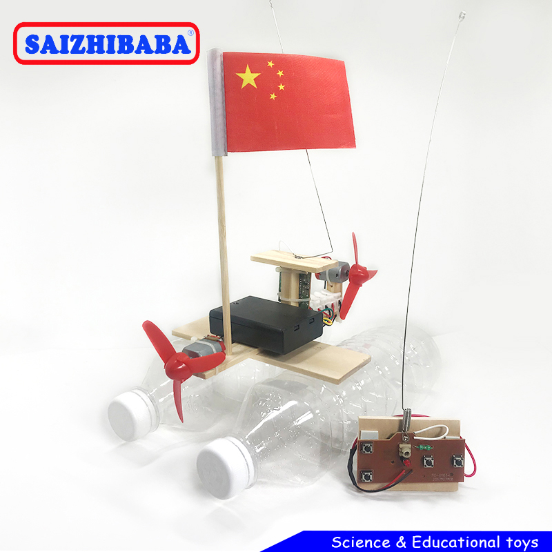 Saizhibaba Wooden RC Boat Kids Toys Assembly Remote Control Boat Toys Educational Toy Scientific Experiment Model Kits